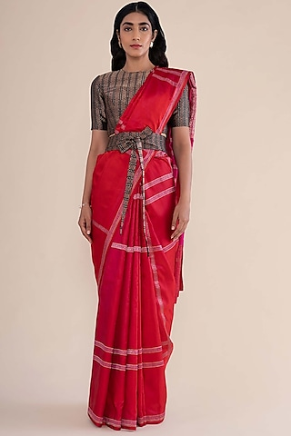 Cherry Red Satin Silk Handwoven Saree by Ekaya