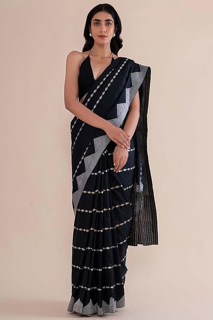 Black Handwoven Saree by Ekaya