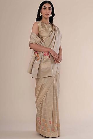Beige Gold Satin Silk Handwoven Saree by Ekaya