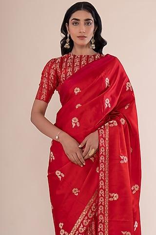 Scarlet Red Satin Silk Handwoven Saree by Ekaya
