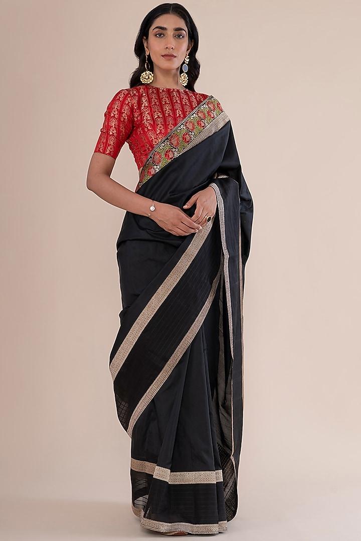 Black Satin Silk Handwoven Saree by Ekaya