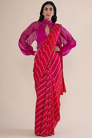 Cherry Red Handwoven Saree by Ekaya