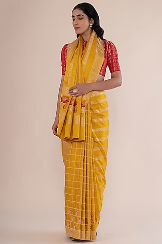 Sunny Yellow Handwoven Saree by Ekaya