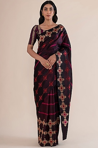 Garnet Handwoven Saree by Ekaya