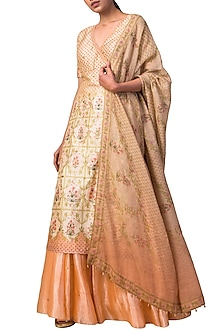 Ivory & Peach Handwoven Printed Lehenga Set by Ekaya