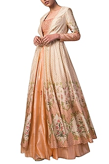 Ivory & Peach Handwoven Printed Jacket Lehenga Set by Ekaya