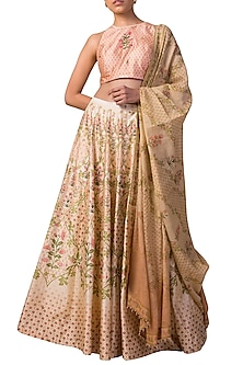 Ivory & Peach Handwoven Digital Printed Lehenga Set by Ekaya