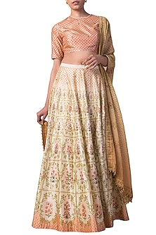Ivory & Peach Digital Printed Handwoven Lehenga Set by Ekaya
