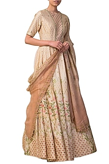 Ivory & Peach Digital Printed Handwoven Anarkali Set by Ekaya