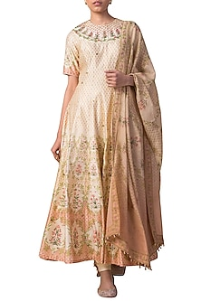 Ivory & Peach Handwoven Printed Anarkali Set by Ekaya