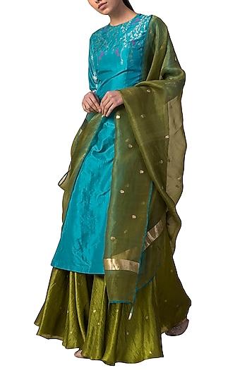 Blue & Green Handwoven Printed Kurta Set by Ekaya
