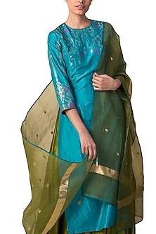 Blue & Green Handwoven Printed Kurta Set by Ekaya