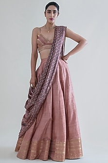 Peach Handwoven Banarasi Lehenga Set by Ekaya