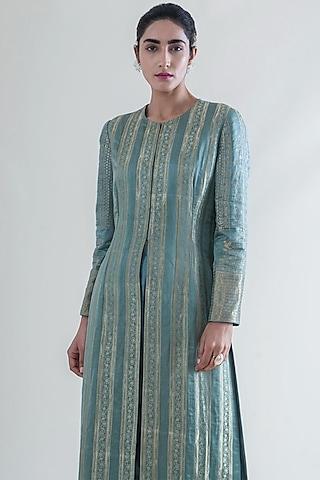 Mint Green Handwoven Banarasi Kurta With Pants by Ekaya