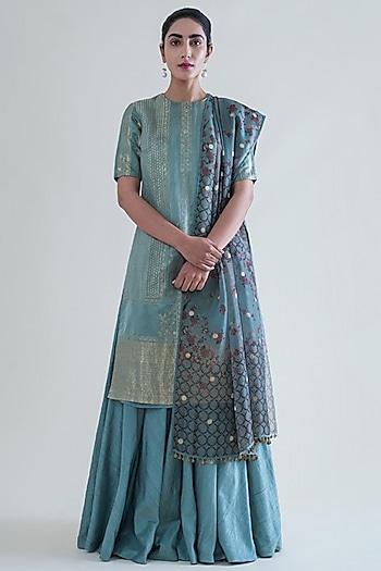 Mint Green Handwoven Banarasi Kurta Set by Ekaya