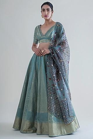Mint Green Handwoven Banarasi Lehenga Set by Ekaya