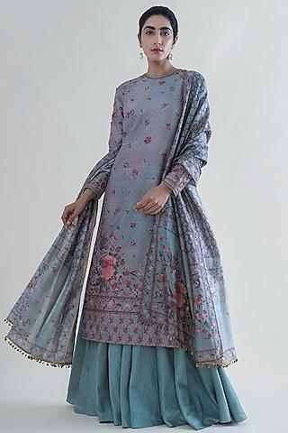 Stone Grey Banarasi Printed Kurta Set by Ekaya