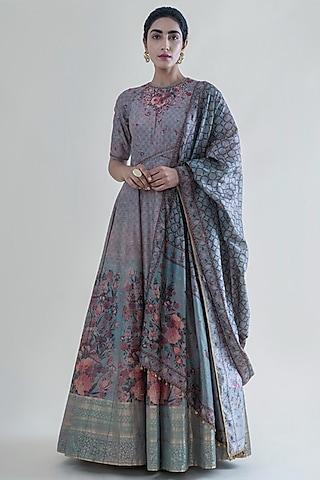 Stone Grey Handwoven Banarasi Anarkali Set by Ekaya