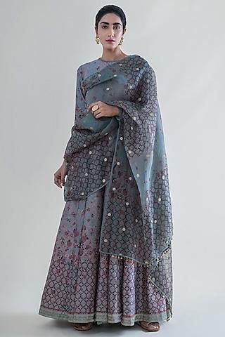 Stone Grey Banarasi Anarkali Set by Ekaya