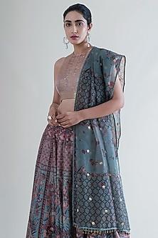 Stone Grey & Mint Green Banarasi Lehenga Set by Ekaya