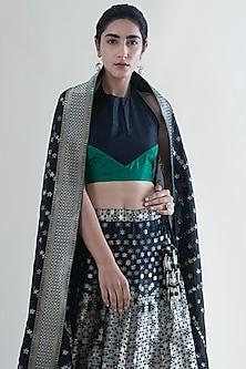 Black & Green Banarasi Lehenga With Dupatta by Ekaya