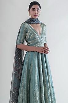 Mint Green Banarasi Anarkali Set by Ekaya