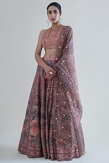 Peach Banarasi Printed Lehenga Set by Ekaya