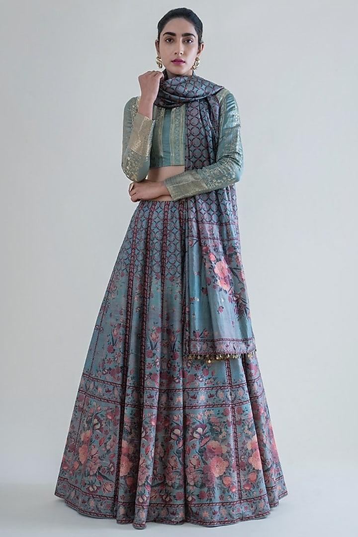 Mint Green Banarasi Printed Lehenga Set by Ekaya
