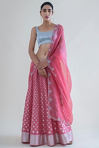 Pink Banarasi Lehenga With Dupatta by Ekaya