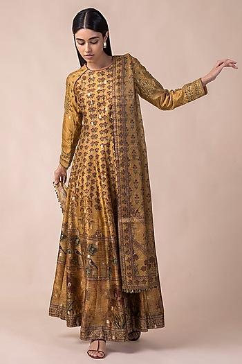 Mustard Yellow Handwoven Printed Anarkali Set by Ekaya