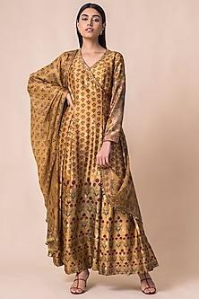Mustard Yellow Handwoven Printed Angrakha Kurta Set by Ekaya