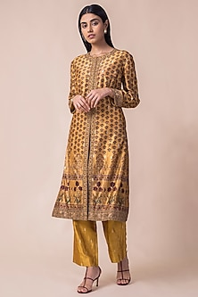 Mustard Yellow Digital Printed Kurta Set by Ekaya