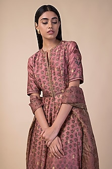 Onion Pink Handwoven Printed Anarkali Set by Ekaya
