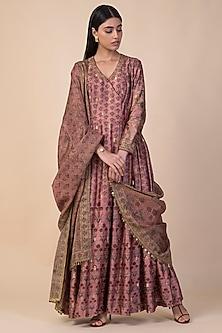 Onion Pink Handwoven Printed Angrakha Kurta Set by Ekaya