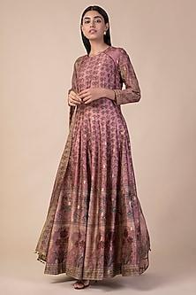Onion Pink Banarasi Printed Anarkali Set by Ekaya