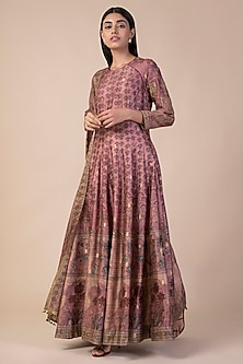 Onion Pink Banarasi Printed Anarkali Set by Ekaya