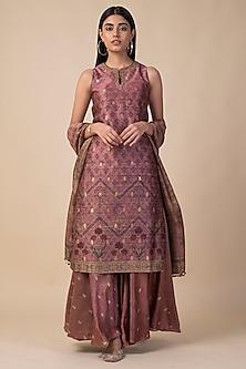 Onion Pink Banarasi Printed Kurta Set by Ekaya