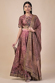 Onion Pink Digital Printed Lehenga Set by Ekaya