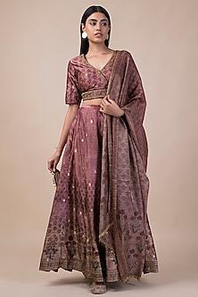 Onion Pink Banarasi Printed Lehenga Set by Ekaya
