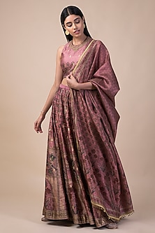 Onion Pink Handwoven & Printed Lehenga Set by Ekaya