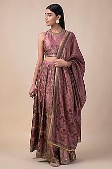 Onion Pink Handwoven & Printed Lehenga Set by Ekaya