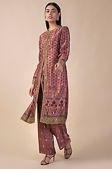 Onion Pink Banarasi Printed Kurta With Pants by Ekaya