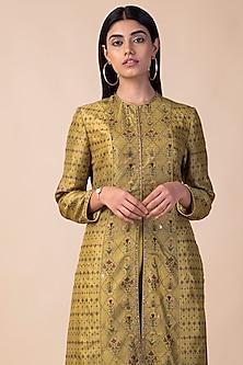 Lime Green Banarasi Printed Kurta With Pants by Ekaya