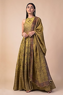 Lime Green Banarasi Printed Anarkali Set by Ekaya