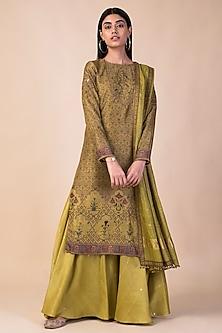 Lime Green Digital Printed Kurta set by Ekaya