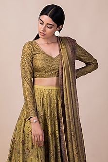 Lime Green Banarasi Printed Lehenga Set by Ekaya