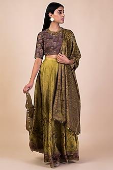 Lime Green Handwoven & Printed Lehenga Set by Ekaya