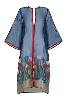 Blue Banarasi Handwoven Floral Motifs Jacket by Ekaya