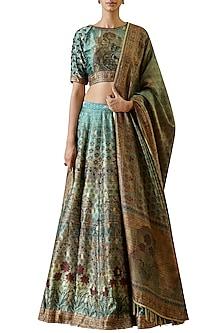 Turquoise hand embroidered & printed lehenga set by Ekaya