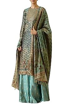 Turquoise printed & hand embroidered kurta set by Ekaya